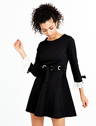 baratos -Mulheres Manga Alargamento Solto Vestido - Estampado, Sólido Cintura Alta Mini