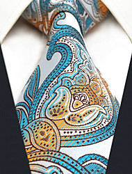 CS4 New Men's Necktie Tie Blue Orange White Paisley 100% Silk Business New Jacquard Woven For Men