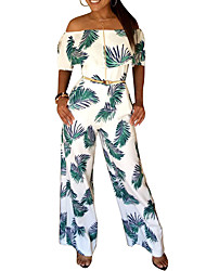 Women's Sexy Ruffle Side Boat Neck High Rise Beach Boho Wide Leg Floral Floral / Botanical Summer Jumpsuits (Belt Not Included)