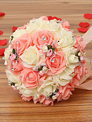 cheap -A Bouquet of 30 PE Simulation Roses Wedding Bouquet Wedding Bride Holding Flowers,Pink and White