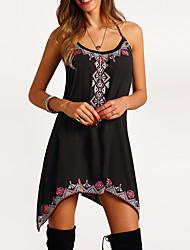 Недорогие -Жен. Свободный силуэт С летящей юбкой Платье С принтом На бретелях Ассиметричное Черный