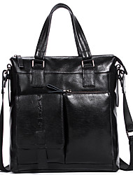Men Bags All Seasons Cowhide Briefcase Smooth for Business Casual Formal School Date Work Office & Career Black Dark Brown