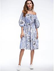 Trapèze Robe Femme SortieImprimé Lignes / Vagues Bateau Mi-long Manches 3/4 Coton Printemps Eté Taille Normale Non Elastique Moyen