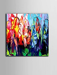 cheap -Hand-Painted Abstract Horizontal Panoramic, Abstract Modern/Contemporary Canvas Oil Painting Home Decoration One Panel