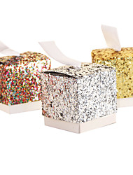 cheap -Round Square Cubic Card Paper Favor Holder with Ribbons Printing Favor Boxes - 25