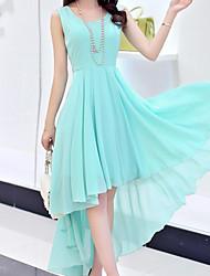 preiswerte -Damen Boho Hülle Swing Kleid Solide Asymmetrisch