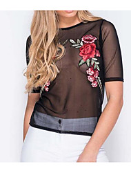 Women's Embroidery Going out Sexy Shirt,Solid Round Neck Short Sleeve Others