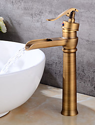 cheap -Antique Centerset Waterfall Ceramic Valve Single Handle One Hole Antique Copper, Bathroom Sink Faucet