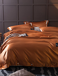 Solid 4 Piece Silk Cotton Hand-made Silk Cotton 1pc Duvet Cover 2pcs Shams 1pc Flat Sheet