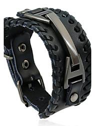 Недорогие -Муж. Кожаные браслеты - Кожа Природа, Мода Браслеты Черный / Коричневый Назначение Особые случаи Подарок