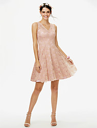 cheap -A-Line V Neck Short / Mini All Over Lace Bridesmaid Dress with Lace by LAN TING BRIDE®