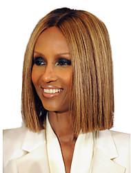 cheap -Human Hair Capless Wigs Human Hair Straight Bob Haircut Dark Roots / Middle Part Medium Length Machine Made Wig Women's