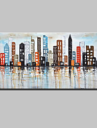 cheap -Hand-Painted Knife Oil Painting On Canvas Modern Abstract City Wall Art Pictures For Home Decoration Ready To Hang