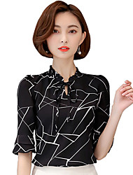 cheap -Women's Work Plus Size Casual Summer Blouse,Geometric V Neck Polyester Spandex Thin