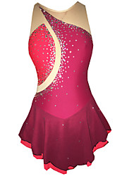 Figure Skating Dress Women's Girls' Ice Skating Dress Burgundy Rhinestone High Elasticity Performance Skating Wear Handmade Jeweled