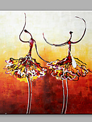 cheap -Oil Painting Abstract Two Dancing Girls with Stretched Frame Handmade Oil Painting For Home Decoration
