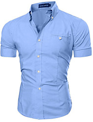cheap -Men's Slim Shirt - Solid Colored Basic Button Down Collar / Short Sleeve