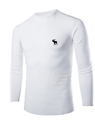 Men's Daily Casual Regular Pullover,Solid Embroidered Round Neck Long Sleeves Cotton Fall Medium Micro-elastic