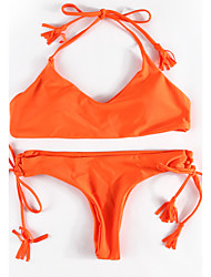 2017 New Women's Bikini Swimwear Lace Up  Orange color Swimsuit fringe