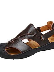 Men's Sandals Gladiator PU Spring Summer Outdoor Casual Buckle Flat Heel Dark Brown Light Brown Flat