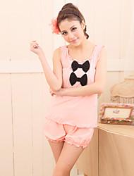 Women's Sleepwear Set Two Sweet Bows Falbala Sleeveless Cute Home Suit
