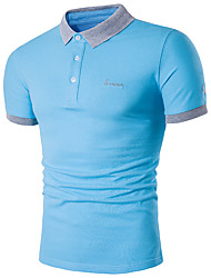cheap -Men's Active Plus Size Cotton Slim Polo - Solid Colored Shirt Collar / Short Sleeve