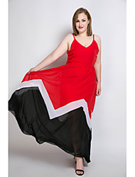 cheap -Really Love Women's Plus Size Beach Vintage Street chic Sheath Chiffon Swing Dress - Color Block Patchwork Maxi Strap