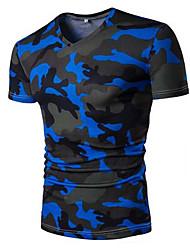 baratos -Homens Camiseta Casual Estampado Decote V