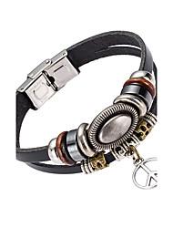 Недорогие -Муж. Кожаные браслеты - Кожа мир Природа, Мода Браслеты Черный Назначение Особые случаи / Подарок