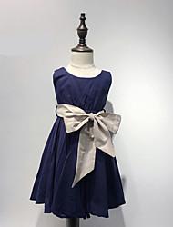 baratos -Menina de Vestido Sólido Verão Algodão Sem Manga Laço Azul