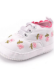 cheap -Newborn Baby Girl's Kids' Sneakers First Walkers Twill Fall Winter Party & Evening Dress Casual Gore Flower Flat Heel Blushing Pink White Flat