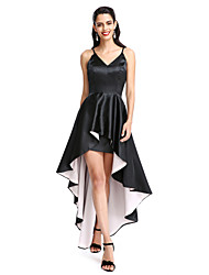 cheap -A-Line Spaghetti Straps Asymmetrical Stretch Satin Cocktail Party / Prom Dress with Pleats by TS Couture®