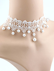 cheap -Women's Imitation Pearl Lace Choker Necklace  -  Tassel Euramerican Fashion White Necklace For Wedding