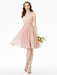 cheap -A-Line Jewel Neck Knee Length Chiffon Sheer Lace Bridesmaid Dress with Lace Sash / Ribbon Pleats Ruched by LAN TING BRIDE®