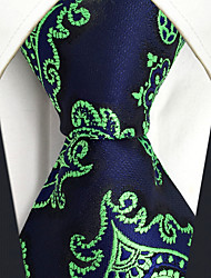 cheap -CXL18 New Extra Long For Men Neckties Green Dark Blue Paisley 100% Silk Casual Fashion Dress Handmade