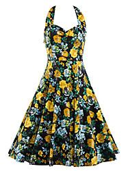 Trapèze Robe Femme Décontracté / Quotidien Vintage,Fleur Licou Mi-long Sans Manches Spandex Mélange de Coton Eté Taille NormaleNon
