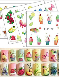 20pcs/set Summer Hot Fashion Fruit DIY Decoration Nail Art Water Transfer Decals Lovely Fruit Drink Ice Cream Flower Butterfly Design STZ470-473