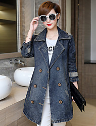 Women's Simple Casual/Daily Fall Winter Coat,Solid Peaked Lapel Long Sleeve Long