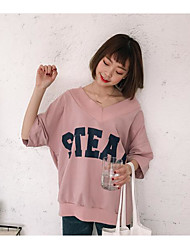 Damer I-byen-tøj Simpel Sweatshirt Bogstaver Ren Farve V-hals Mikroelastisk Sommer