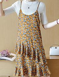 Chemisier Robes Costumes Femme,Imprimé Décontracté / Quotidien simple Eté Sans Manches Col Arrondi Micro-élastique