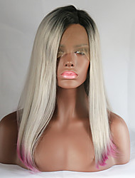 Sexy Beauty High Heat Resistant Straight Lace Front Wig Synthetic Ombre Gray and Pink Dark Root Three Tone Bobo Hair