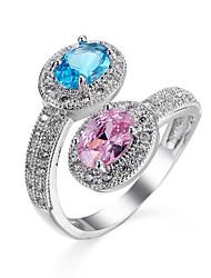 Жен. Кольцо Обручальное кольцо Синтетический сапфир Цирконий Мода Классика Elegant Синтетические драгоценные камни Цирконий Круглой формы