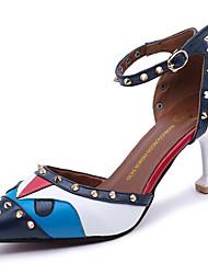 baratos -Mulheres Sapatos Couro Ecológico Verão Conforto Sandálias Salto Agulha Vermelho / Verde / Azul