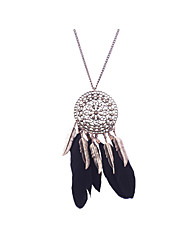 Women's Statement Necklaces Jewelry Jewelry Feather Alloy Unique Design Tag Turkish Movie Jewelry Statement Jewelry Double-layer Tassels