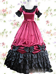 cheap -Victorian Costume Women's Dress Party Costume Masquerade Vintage Cosplay Other Satin Short Sleeves Cap Floor Length