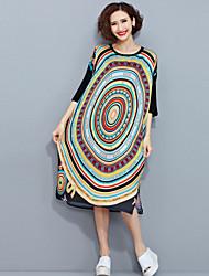 abordables -Mujer Corte Ancho Recto Vestido - Elegante Estampado, Patrón Bloques