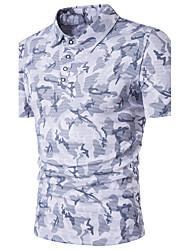 baratos -Homens Polo Moda de Rua camuflagem Algodão Colarinho de Camisa
