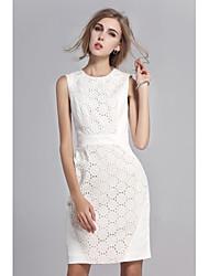 SHE'SWomen's Work Sophisticated Sheath DressSolid Round Neck Knee-length Sleeveless Cotton Blend Summer Mid Rise Micro-elastic Thin