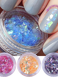 2g*4 Boxes Fluorescent Nail Flakies Glass Paper Irregular Paillette Nail Art Glitter Sequins Flakes
