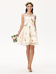 cheap -A-Line Jewel Neck Knee Length Organza Floral Lace Cocktail Party Dress with Flower by TS Couture®